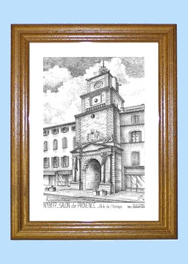 Cadre bois teint impression noir sur la ville de salon de for Porte de l horloge salon de provence
