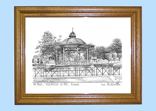 cadre bois teint 233 impression noir sur la ville de villeneuve le roi titre kiosque